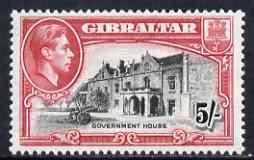Gibraltar 1938-51 KG6 5s black & carmine P13.5 mounted mint SG129a