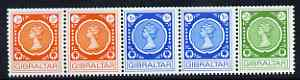 Gibraltar 1971 Coil strip of 5 unmounted mint, SG287a
