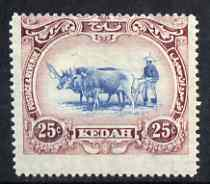 Malaya - Kedah 1921-32 Ploughing 25c Script mounted mint centred high SG33