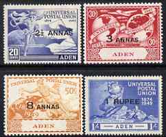 Aden 1949 KG6 75th Anniversary of Universal Postal Union set of 4 mounted mint, SG32-35, stamps on , stamps on  kg6 , stamps on  upu , stamps on