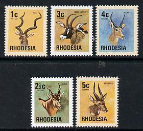 Rhodesia 1974 Antelopes set of 5 from Wildlife def set unmounted mint, SG 489-93*