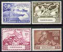 Grenada 1949 KG6 75th Anniversary of Universal Postal Union set of 4 mounted mint, SG 168-71, stamps on , stamps on  kg6 , stamps on  upu , stamps on