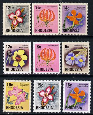 Rhodesia 1974 Wild Flowers set of 9 from Wildlife def set unmounted mint, SG 494-502*