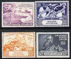 Malaya - Selangor 1949 KG6 75th Anniversary of Universal Postal Union set of 4 mounted mint, SG 111-16