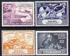 Malaya - Trengganu 1949 KG6 75th Anniversary of Universal Postal Union set of 4 mounted mint, SG 63-66