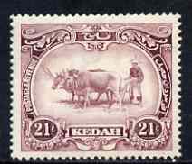 Malaya - Kedah 1919-21 Ploughing 21c MCA mounted mint SG22