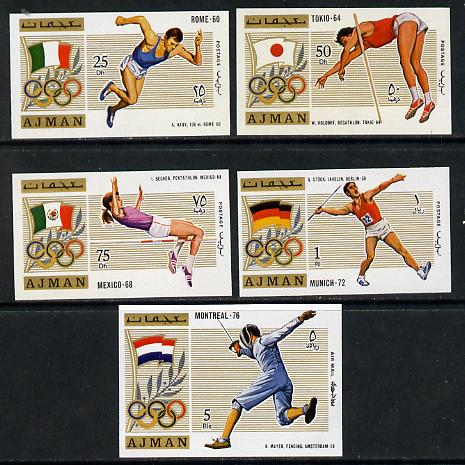 Ajman 1971 Olympics (from 1960 to 1976) imperf set of 5 unmounted mint, Mi 1210-14B, stamps on , stamps on  stamps on sport    running    decathlan   pole vault    high jump   pentathlon     javelin      fencing    olympics    flags