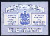 Booklet - Canada 1954 Booklet 25c blue cover (QEII) stapled SG SB53