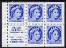 Booklet - Canada 1954-62 QEII 5c Booklet pane, 5 stamps plus label unmounted mint SG467a