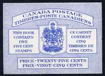 Booklet - Canada 1954 Booklet 25c blue cover (QEII) stitched SG SB53a