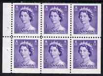 Booklet - Canada 1953 QEII 4c Booklet pane of 6 unmounted mint SG453a