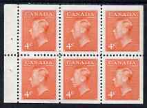 Booklet - Canada 1949-51 KG6 4c vermilion Booklet pane of 6 unmounted mint SG417ba