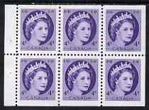 Booklet - Canada 1954-62 QEII 4c Booklet pane of 6 unmounted mint SG466a