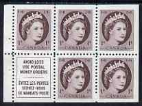 Booklet - Canada 1954-62 QEII 1c Booklet panes 5 stamps plus label unmounted mint SG463a