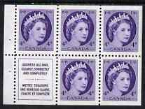 Booklet - Canada 1954-62 QEII 4c Booklet panes 5 stamps plus label unmounted mint SG466b