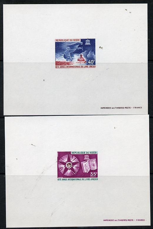 Niger Republic 1972 International Book Year imperf deluxe miniature sheets (35f & 40f) both unmounted mint
