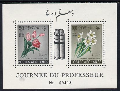 Afghanistan 1961 Teachers Day (Flowers & Books) perf m/sheet unmounted mint