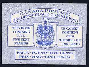 Booklet - Canada 1954 Booklet 25c blue bilingual stitched cover (Beaver stamps) SG SB52a