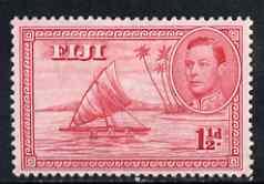 Fiji 1938-55 KG6 1.5d carmine P13.5 (die I empty canoe) mounted mint SG 251