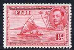 Fiji 1938-55 KG6 1.5d carmine P12 (die II native in canoe) mounted mint SG 252c