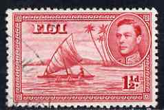 Fiji 1938-55 KG6 1.5d carmine P12 (die II native in canoe) used SG 252c
