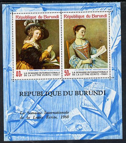 Burundi 1968 Letter Writing Week (Paintings) perf m/sheet containing 2 values unmounted mint, Mi BL 28A