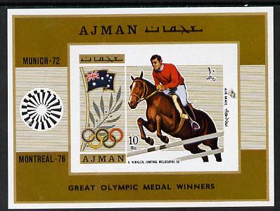 Ajman 1971 Olympics (Show Jumping 1956) imperf m/sheet unmounted mint (Mi BL 327B)