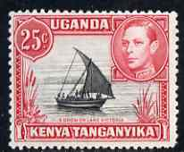 Kenya, Uganda & Tanganyika 1938-54 KG6 Dhow on Lake Victoria 25c P13 x 12.5 mounted mint SG140