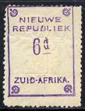 South Africa - New Republic 1887 6d yellow paper without date (Arms inverted) mounted mint, SG81b