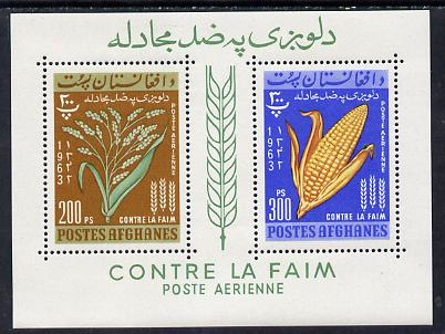 Afghanistan 1963 Freedom From Hunger (Rice & Corn) perf m/sheet containing 200p & 300p values (without number) unmounted mint