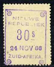 South Africa - New Republic 1886-87 30s yellow paper (dated 24 Nov 86) without Arms mounted mint