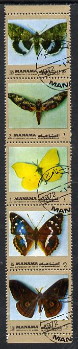 Manama 1972 Butterflies se-tenant strip of 5 (gold border) cto used