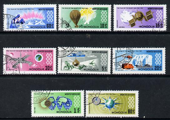 Mongolia 1965 International Quiet Sun Year set of 8 cto used, SG 356-63
