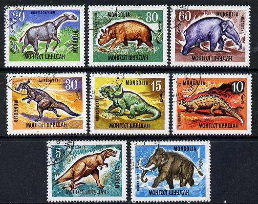 Mongolia 1966 Prehistoric Animals set of 8 cto used, SG 436-43