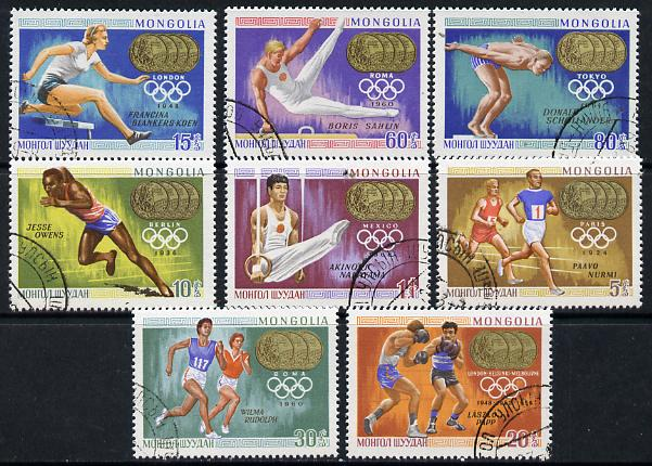 Mongolia 1969 Olympic Games - Gold Medal Winners set of 8 cto used, SG 506-13