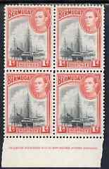 Bermuda 1938-52 KG6 Ships in Hamilton Harbour 1d in unmounted mint full imprint block of 4, SG 110