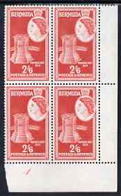 Bermuda 1953-62 Warwick Fort 2s6d unmounted mint lower right corner block of 4 (mount marks in margins), SG 147