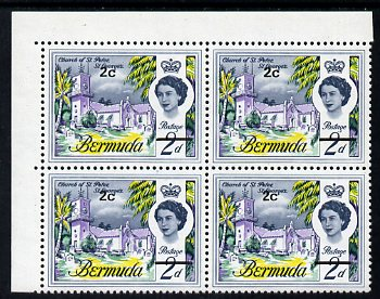 Bermuda 1970 QE2 New Currency 2c Tall '2' variety in positional corner block of 4 unmounted mint, SG 233ea