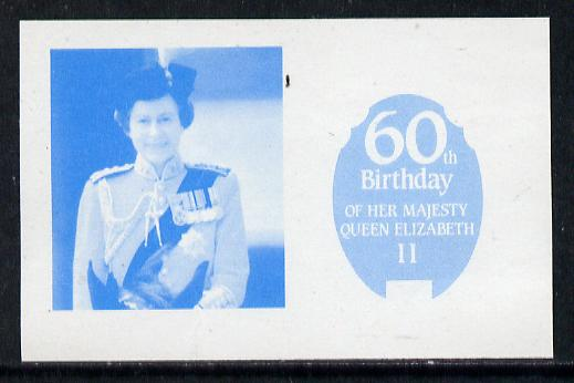 Tuvalu - Funafuti 1986 Queen's 60th Birthday 10c imperf proof in blue only printed on gummed paper (ex Format archives)