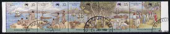 Cocos (Keeling) Islands 1988 Australia Bi-cent strip of 5 (arrival first fleet) fine cds used, SG 246a