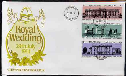 Barbuda 1981 Royal Wedding (Royal Buildings) set of 6 (3 se-tenant pairs each imperf between) on illustrated cover with first day cancel, stamps on buildings   royalty, stamps on diana, stamps on charles, stamps on