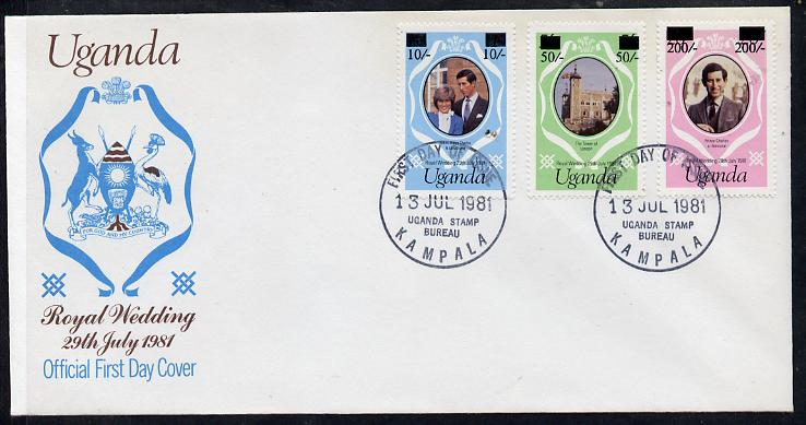 Uganda 1981 Royal Wedding set of 3 (type A surcharges) on illustrated cover with first day cancel, SG 341-43