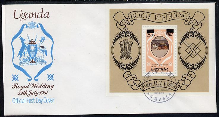 Uganda 1981 Royal Wedding m/sheet (type A surcharge) on illustrated cover with first day cancel, SG MS 344