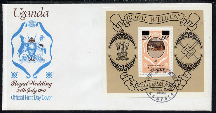 Uganda 1981 Royal Wedding m/sheet (type B surcharge) on illustrated cover with first day cancel, SG MS 344e