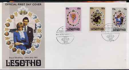 Lesotho 1981 Royal Wedding imperf set of 3 on illustrated cover with first day cancel, SG 451-53var