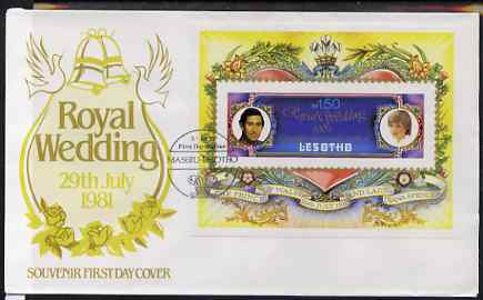 Lesotho 1981 Royal Wedding imperf m/sheet on illustrated cover with first day cancel, SG MS 454var