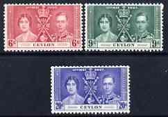 Ceylon 1937 KG6 Coronation set of 3 unmounted mint, SG 383-85