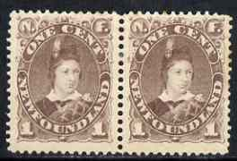 Newfoundland 1880-82 Prince of Wales 1c dull brown horiz pair mtd mint, some rusting on perfs on one stamp, SG 44