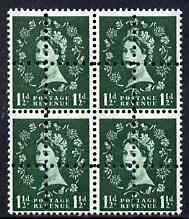Great Britain 1952-67 Wilding 1.5d mounted mint block of 4 with double perfs, interesting forgery