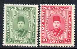 Egypt 1939 Farouk Army Post set of 2 mounted mint SG A14-15
